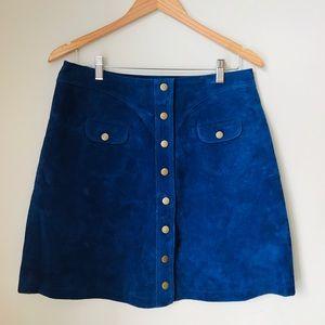 Anthro - Superb royal blue suede skirt